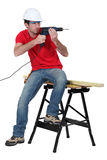 Workerwith a power drill Royalty Free Stock Images
