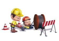 Workes road construction Royalty Free Stock Photo