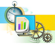 Workflow. Chronograph, monitor and gear composition, symbolizing work-flow. Digital illustration Royalty Free Stock Photo