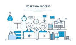 Workflow, arbetsplats, miljö, programvara och maskinvara, tankeprocess, kommunikation royaltyfri illustrationer