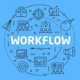 Workflow Blue Lines Illustration for presentation Stock Photo