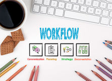 Workflow, Business concept. White office desk Royalty Free Stock Images