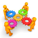 Workflow Five Gears. Orange cartoon characters with multicolored gears on the white background Royalty Free Stock Photos