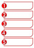 Workflow in five steps with numbers one, two, three, four, five stairs in red circle labels Stock Photography