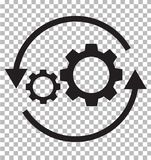 workflow icon on transparent. flat style. gear and arrow icon for your web site design, logo, app, UI. workflow automation icon. royalty free illustration