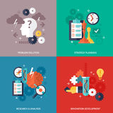 Workflow Icons Set. Workflow and business icons set with problem solution strategy planning research and development symbols flat  vector illustration Stock Photos
