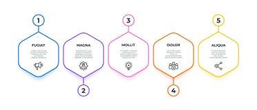 Workflow Infographic för arbetsflöde för 5 alternativ baner, affärspresentationsdiagram, sexhörningsmilstolpetimeline vektor stock illustrationer