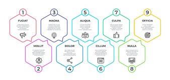 Workflow infographic. 9 step flow graphic, timeline minimalist hexagon banner, business presentation graph. Vector 9
