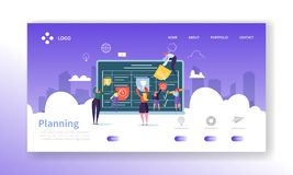 Workflow Management Concept Landing Page. Business People Characters Planning Work Process Together Website Template. Easy Edit and Customize. Vector royalty free illustration