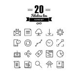 Workflow and networking line icons set. Thin lines icons set of cloud networking, office workflow object, global business communication, mobile user interface Royalty Free Stock Image