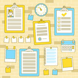 Workflow organization with bulletin wall and pinned clipboards Royalty Free Stock Photography