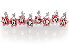 Workflow People on Gears Teamwork Workforce Working Together Royalty Free Stock Photos