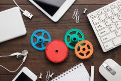 Workflow and teamwork concepts with colorful gears stock image