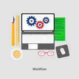 Workflow. Theme. Abstract flat illustration of design and development concept. Element for mobile and web applications stock illustration