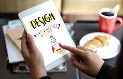 WORKFLOWdesignprocess från att definiera problemutvecklingen De royaltyfria bilder