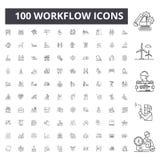 Workflowlinje symboler, tecken, vektoruppsättning, översiktsillustrationbegrepp arkivbilder