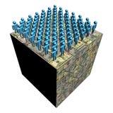 Workforce on dollar cube. Workforce on giant dollar cube illustration Royalty Free Stock Photos