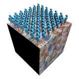 Workforce on giant euro cube Royalty Free Stock Photos