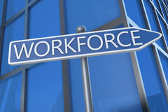 Workforce. Illustration with street sign in front of office building Stock Photo