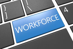 Workforce. Keyboard 3d render illustration with word on blue key Royalty Free Stock Images