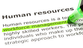 Workforce management. 'Workforce management' highlighted in green, under the heading 'Human resources Stock Photo