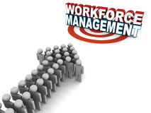 Workforce management. Or wfm concept, words on target with workers on approach Royalty Free Stock Photo