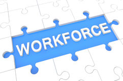Workforce. Puzzle 3d render illustration with word on blue background Royalty Free Stock Photography
