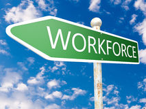 Workforce. Street sign illustration in front of blue sky with clouds Royalty Free Stock Photos