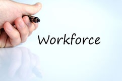 Workforce text concept. Business man hand writing workforce Stock Photo