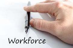 Workforce text concept. Business man hand writing workforce Royalty Free Stock Photo