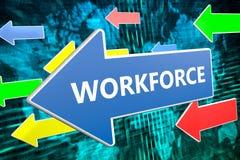 Workforce text concept. Workforce - text concept on blue arrow flying over green world map background. 3D render illustration Stock Images