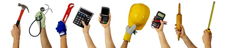 Workforce - various profession workers with work tools in hands stock image