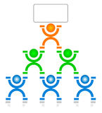 Workgroup. Illustration of a work group on a pyramid scheme. The leader on the top holding a blank sign Stock Photography