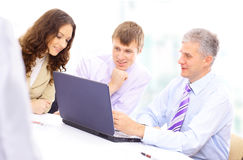 Workgroup interacting in a natural work Royalty Free Stock Photography