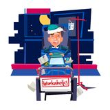 Workholic concept. sick businessman  working on Patient`s bed wi. Th office equipments - vector illustration Stock Images
