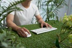 Workig i grön miljö royaltyfria foton