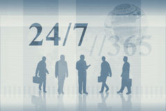 Working 24/7. An illustration of business people working 24/7 for 365 days of the year Royalty Free Stock Photos