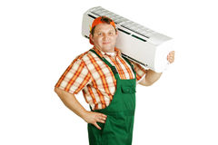 Working with air conditioning. On a white background Royalty Free Stock Photo