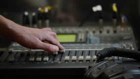 Working With Analogic Sound Mixer. Professional audio mixing console radio and TV broadcasting.  stock video footage