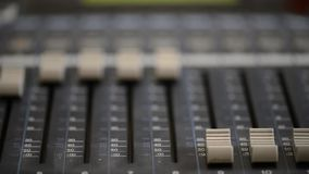 Working With Analogic Sound Mixer. Professional audio mixing console radio and TV broadcasting.  stock footage