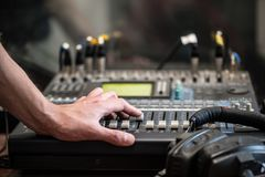 Working With Analogic Sound Mixer. Professional audio mixing console radio and TV broadcasting.  Stock Images