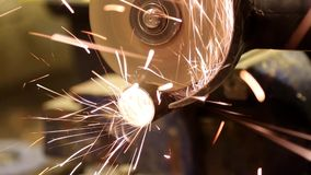 Working with angle grinder stock footage