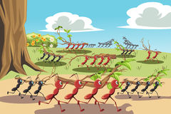 Working ants. A vector illustration of a colony of ants working together, can be used for teamwork concept royalty free illustration