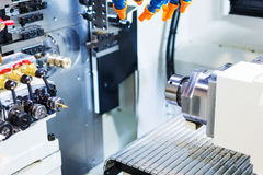 The working area of industrial CNC milling machine. Royalty Free Stock Photography