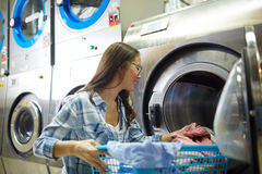Working as laundress Stock Image