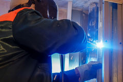 Working as a welder Royalty Free Stock Images