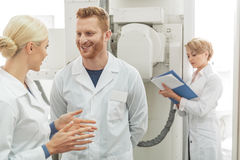 Working atmosphere among medical device Royalty Free Stock Image