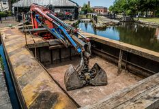 Working Barge with Grab Royalty Free Stock Photos