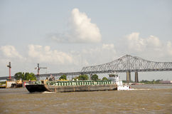 Working barge on Mississippi river Stock Photos