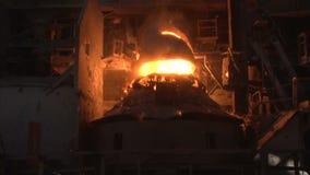 Working basic oxygen furnace stock video